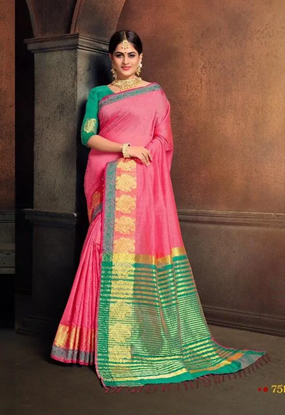 Picture of Cotton Silk Weaving Sarees_07_pink - One1347 - D77c 4026 1a00