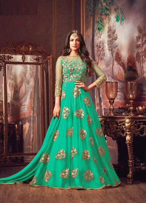 Picture of Semi-Stitched Georgette Embroidery Work Gown For Women