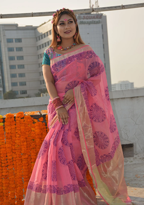 Picture of Half Silk Block Saree Punch Pink And Gold Combination With Gold Par