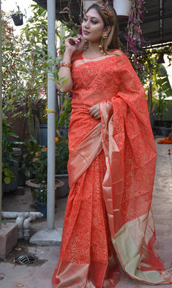 Picture of Half Silk Block Saree Imperial Red And Gold Combination With Gold Par
