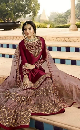 Picture of Indian Replica Semi-Stitched Georgette Anarkali Gown For Women
