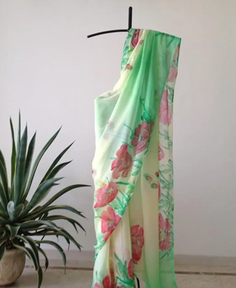 Picture of Floral Organza With Beautiful Printed Saree - 03 - Asi