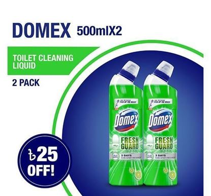 Picture of Domex Toilet Cleaning Liquid Lime Fresh 500mlX2 Multipack